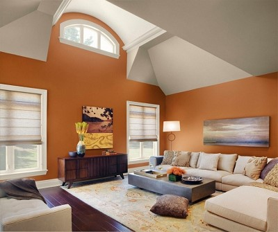 decoration salon peinture orange